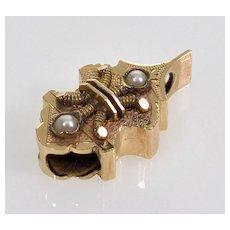 Antique Victorian 14K Gold Pearl Slide Charm For Bracelet 002855