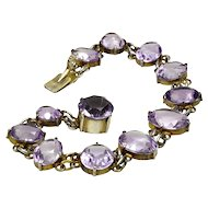 Antique Edwardian 830 Silver Faceted Amethyst Bracelet