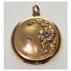 Antique Art Nouveau GF Paste Locket Pendant C.1900