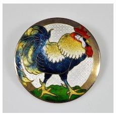 Antique Art Nouveau Guilloche Enamel Sterling Rooster Brooch Pin C.1910