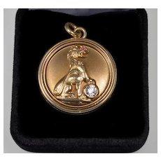 Vtg 14K Gold Diamond Ruby Lion Locket Pendant C.1930
