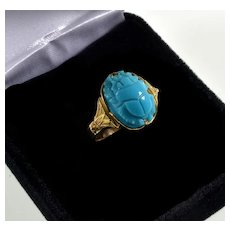 Vtg 18K Gold Persian Turquoise Scarab Cocktail Ring Size 5.5 Egyptian Revival