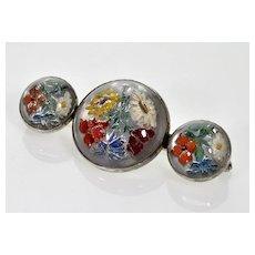 Antique Art Deco Intaglio Goofus Glass Sterling Brooch Pin C.1920