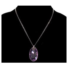 Antique Art Deco Italy Sterling Amethyst Glass Necklace C.1920