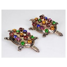 Vtg Pair Of Turtle Sterling Pins Brooches C.1930