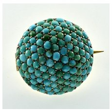 Antique Victorian 10K Gold Turquoise Pave Brooch Pin C.1860