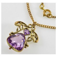 Antique Art Nouveau Amethyst Pendant Brass Chain Necklace C.1900