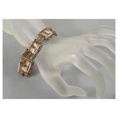 Antique Art Deco Italian SIlver Cameo Bracelet Carnelian Shell 7 Days Of The Week Roman Gods C.1920