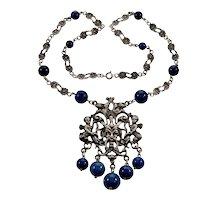 Antique Art Deco Peruzzi Renaissance Revival Satyr Angels Sodalite Silver Necklace C.1920