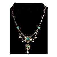 Antique Edwardian Marius Hummer Necklace Turquoise Verneil Sterling C.1900