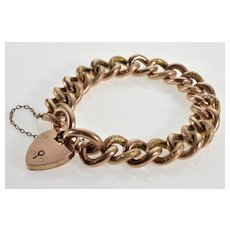 Antique Victorian 9K Gold Chain Heart Padlock Bracelet C.1890