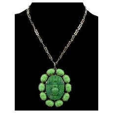 Art Deco Egyptian Revival Glass Scarabs Pendant Necklace Sterling Chain C.1920