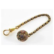 Early Victorian 15K Gold Enamel Orb Ball Watch Fob Pendant C. 1850