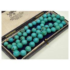 Antique Art Deco 14K Gold Turquoise Bead Necklace C.1920