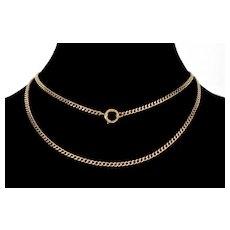 Antique Victorian 14K Gold Chain Necklace C.1890 Large Bolt Clasp