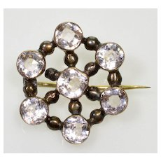 Antique Georgian 9K Gold Diamond Paste Brooch Pin C.1820