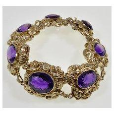 """Vtg Siberian Amethyst Vermeil sterling Bracelet 7 1/4"""""""