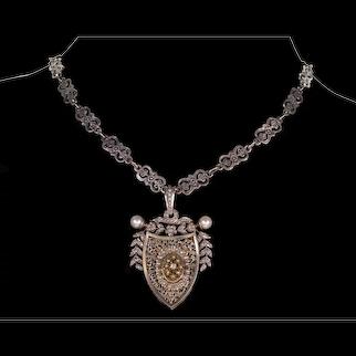 Antique Austro-Hungarian Silver Diamond Pearl Locket Pendant Signed C.1880