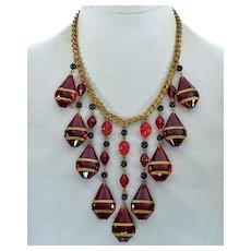 Art Deco Ruby Glass Cascade Necklace Signed Czechoslovakia C.1920