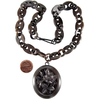Antique Victorian Vulcanite Rose Locket Chain Necklace C.1860