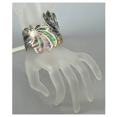 Mexican Sterling Abalone Clamper Bracelet Signed A L.C.