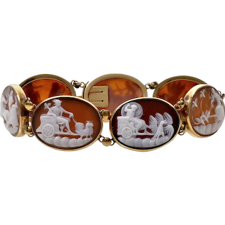Antique Victorian 14K Gold Cameo Bracelet Carnelian Shell 7 Days Of The Week Roman Gods C.1880