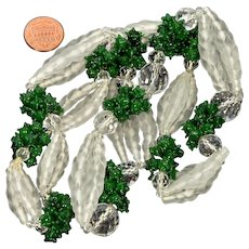 Art Deco French Pâte de Verre Frosted White  & Forest Green Glass Clusters Necklace