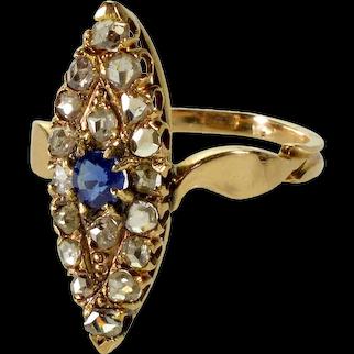 Antique Edwardian Austrian 14K Gold Diamonds Ring Size 8 C.1900
