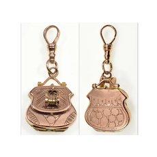 Antique Victorian 10K Gold Bag Locket Pendant Fob C.1880 002880