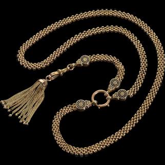 Antique Victorian 10K Gold Necklace 14K Tassel Enamel Dog Clip Clasp C.1870