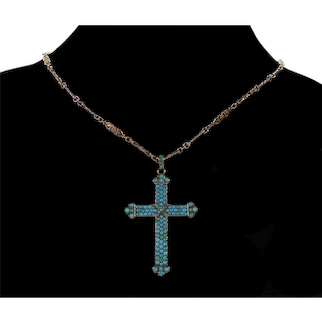 Antique Vicitorian 9K Gold Turquoise Sterling Cross Pendant C.1880 Pave Turquoise Carved Roses