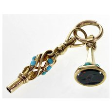 Antique Victorian 10K Gold Turquoise Fobs Charms Pendants C. 1880 Bloodstone  Wax Seal Watch Key Split Ring
