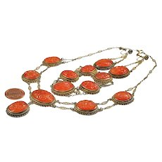Art Deco Chinese Hand Carved Carnelian Sterling Necklace Bracelet Earrings Set