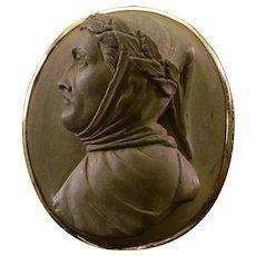 Antique Victorian Carved Lava Petrarca Cameo Brooch Grand Tour C.1860