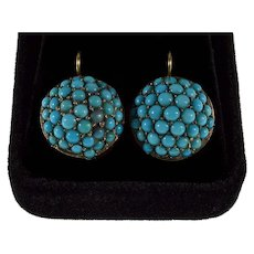 Antique Victorian Natural Turquoise 14K Gold Earrings C.1860
