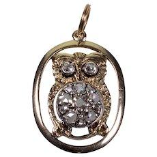 Antique Victorian 14K Gold Diamonds Owl Pendant C 1890