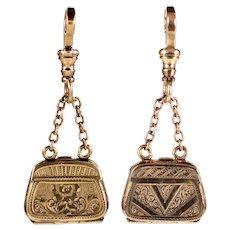 Antique Victorian 10K Gold Front Back Bag Locket Pendant Fob C.1880 002874
