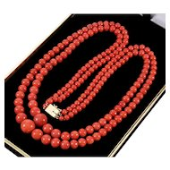 Vintage Estate Italian Mediterranean Tomato Red Coral 2-strand Necklace 14K Clasp