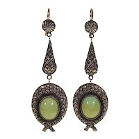Antique Victorian 12K Gold Sterling Turquoise Earrings C. 1900