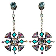 M.C.L. Plique-A-Jour Gem Sterling Earrings Matthew Capbell Laurenza