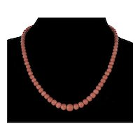 """Vtg 14K Italian Peach Pink Coral Bead Necklace 18 1/4"""" Long"""