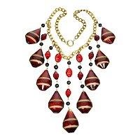 Art Deco Czech Huge Ruby Glass Cascade Necklace