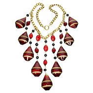 Art Deco Czech Huge Ruby Glass Cascade Necklace