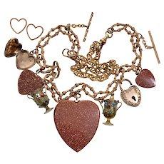 Antique Victorian Heart Necklace 9K Goldstone Pendants Locket GF Fancy Chain C.1860