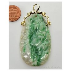 Antique Art Deco 14K Chinese Hand Carved Jadeite Jade Pendant Hallmarked