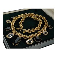 Monet Haute Couture Crystal French Jet Heavy Chain Necklace