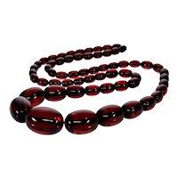 Art Deco Cherry Amber Bakelite Chained Bead Necklace C.1920