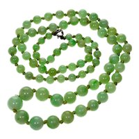 Antique Art Deco Jadeite Jade Bead Necklace 001887