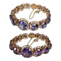 Vintage 18K Rose Gold Lab Alexandrite Bracelet C.1940