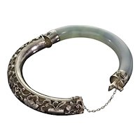 Antique Chinese Lavender Blue Jade Silver Bracelet C.1920